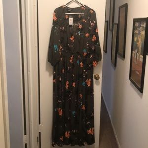 Army green/floral print long sleeve maxi dress